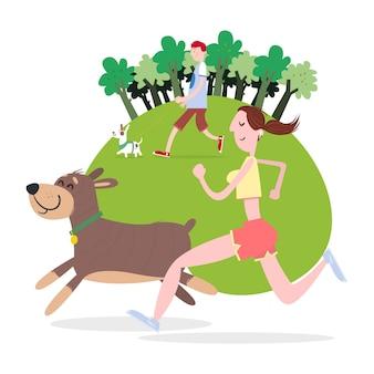 Menschen laufen und laufen mit ihren hunden