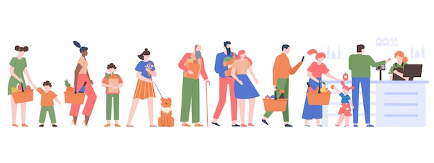 Menschen lebensmittelschlange. charaktere drängen sich in der kassenschlange, kunden im supermarkt, lebensmittelgeschäft lange warteschlangenillustration. volkslebensmittelmarkt, kunde im supermarkt
