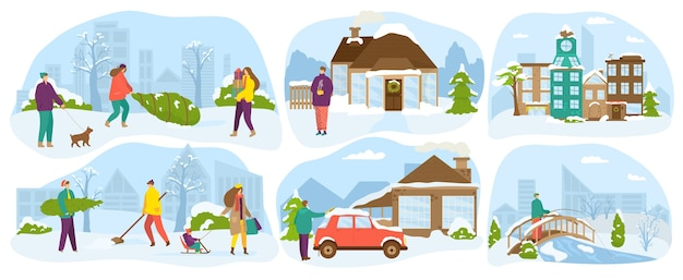 Menschen lebensstil im winter. familie mit kindern glücklich in der schneesaison, spaß und aktivität, winterleben im landhaus, weihnachtsferien. spazierengehen im freien, urlaub.
