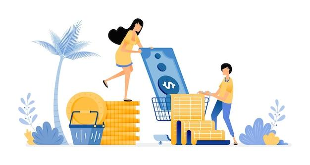 Menschen legen budgets fest, um ausgaben zu sparen. für lebensmittel und monatliche rechnungen bezahlen.