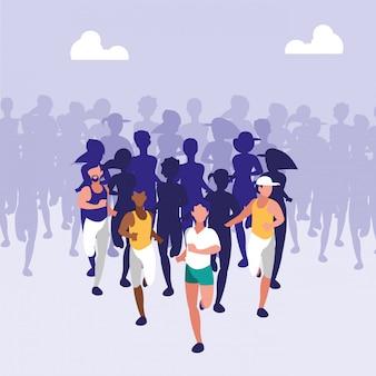 Menschen leichtathletik rennen avatar charakter