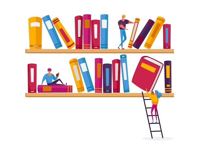 Menschen lesen und studieren, studenten bereiten sich auf die prüfung vor und erwerben kenntnisse.