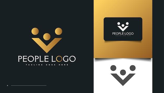 Menschen-logo-design mit anfangsbuchstabe p in gold-gradient. menschen, gemeinschaft, familie, netzwerk, creative hub, gruppe, social connection logo oder symbol für unternehmensidentität