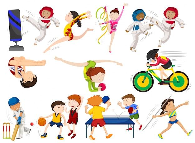 Menschen machen verschiedene sportarten