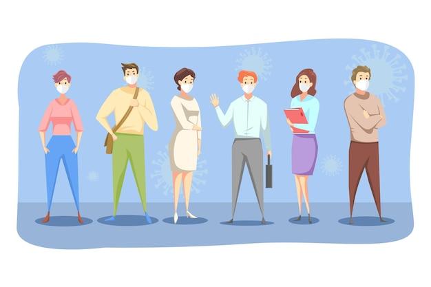 Menschen männer frauen in medizinischen gesichtsmasken stehen zusammen