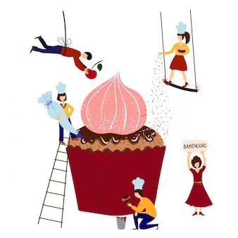 Menschen - männer, frauen - kochen, dekorieren geburtstagstorte