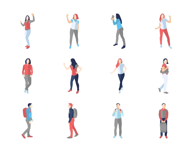 Menschen, männlich, weiblich, in verschiedenen lässigen posen - modernes flaches design isolierte symbole gesetzt. tanzen, spazieren gehen, mit einem rucksack