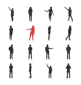 Menschen, männliche, weibliche silhouetten in verschiedenen darstellenden und durchsuchenden posen - modernes flaches design isolierte ikonensatz.