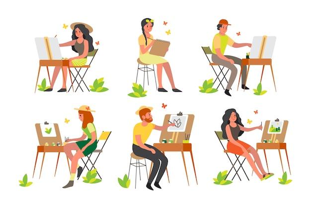 Menschen malen im freien. junger künstler auf freiluft sitzen an einer staffelei mit farbpalette und pinsel. glücklicher künstler, der draußen zeichnet.