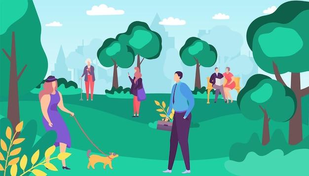 Menschen mann frau charakter spaziergang im sommerpark, vektor-illustration. lebensstil im freien an der stadtnaturlandschaft, flaches glückliches mädchen mit hund. personenpaare sitzen an der bank, ältere frau nahe baum