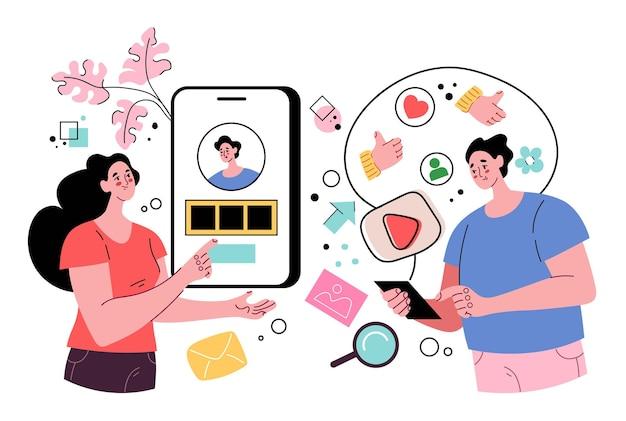 Menschen mann frau charaktere verbinden sich über soziale medien
