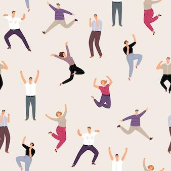 Menschen mann und frau glücklich springen nahtloses muster