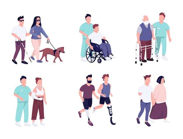 Menschen mit behinderungen aktivitäten flache farbe gesichtslose zeichen gesetzt. älterer mann im rollstuhl. kerl mit fehlendem glied läuft. isolierte karikaturillustrationen auf weißem hintergrund