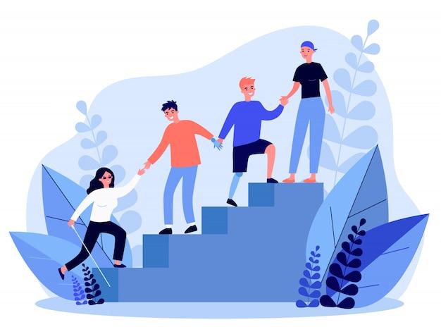 Menschen mit behinderungen helfen sich gegenseitig