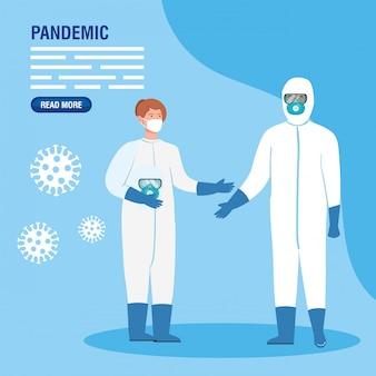 Menschen mit biohazard-anzügen