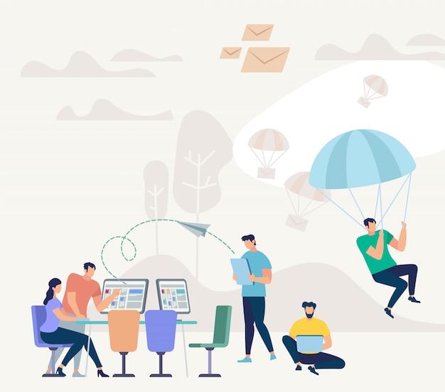 Menschen mit computer. crowdsourcing-flaches konzept
