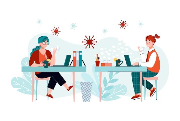 Menschen mit coronavirus oder grippevirus am büroarbeitsplatz - kranke comic-frauen mit krankheitssymptomen, die während der arbeit bakterien verbreiten. .