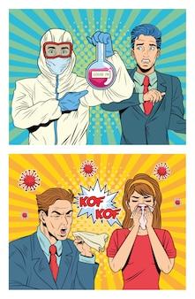Menschen mit covid19 pandemie-charakteren im pop-art-stil