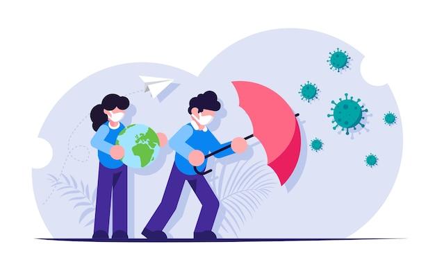 Menschen mit einem regenschirm schützen den planeten vor dem virus. kampf gegen die pandemie.
