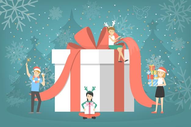 Menschen mit einer großen geschenkbox. gruppe von menschen bereiten weihnachtsgeschenk mit rotem band vor. süße überraschung. illustration