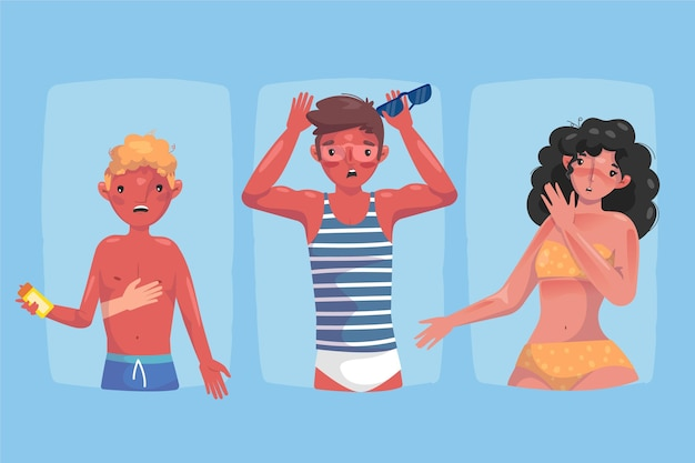 Menschen mit einer sonnenbrandsammlung