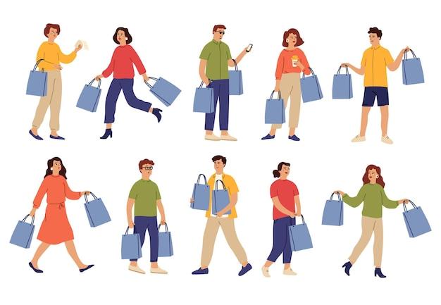 Menschen mit einkäufen. einkaufstasche, shop-typ und weiblicher kauf auf verrücktem verkauf. isolierte käuferfigur, glückliche person im einzelhandelsvektorsatz. mann und frau im einzelhandel mit kaufillustration