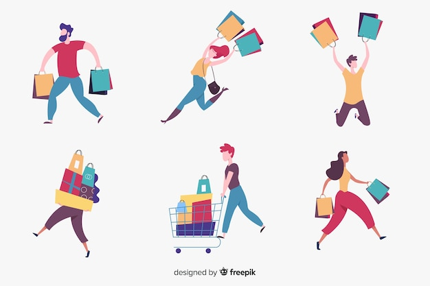 Menschen mit einkaufstüten collectio