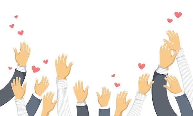 Menschen mit erhobenen händen und fliegenden herzen