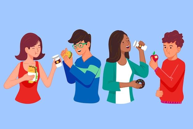 Menschen mit essen und süßigkeiten
