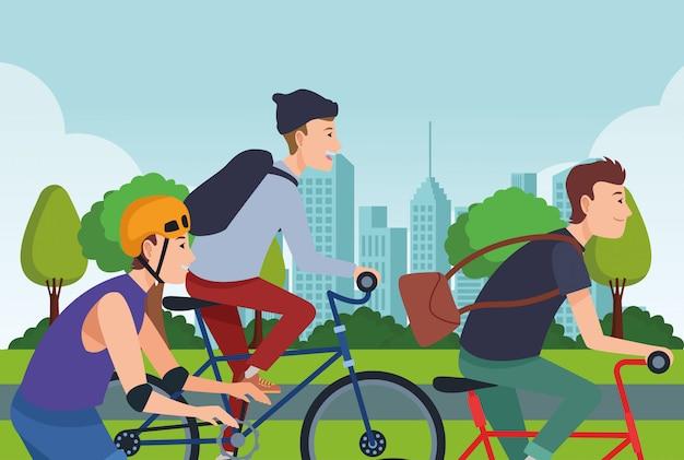 Menschen mit fahrrädern und schlittschuhen