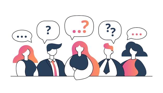 Menschen mit fragezeichen diskutieren oder mit unterschiedlichen meinungen. suche nach lösung oder idee, antworten, argumenten oder polemiken von männern und frauen. fragen in der kommunikation.