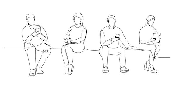 Menschen mit gadgets kontinuierliche strichzeichnungen. mann und frau mit smartphones one line silhouette. mobile technologien. vektor-illustration