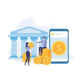 Menschen mit geldbankfinanzierung, geldwechsel, finanzdienstleistungen