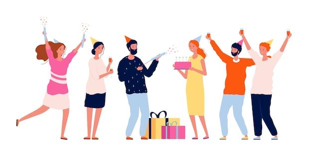 Menschen mit geschenken. die gruppe der glücklichen charaktere gratuliert seinem freund mit geschenkpaketen und kuchengeburtstagsfeierkonzept. illustration geburtstagsfeier fröhlich und überraschung