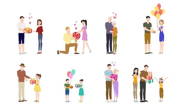 Menschen mit geschenken. verschiedene charaktere geben und empfangen geschenke, romantische überraschungen, glückliche menschen, die feiertage feiern. mann, der blumen gibt