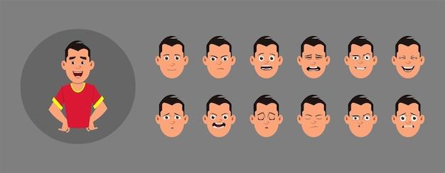 Menschen mit gesichtsgefühlen. verschiedene gesichtsemotionen für benutzerdefinierte animation, bewegung oder design.