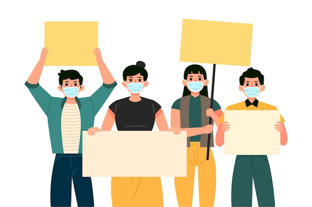 Menschen mit gesichtsmasken, die leere plakate halten