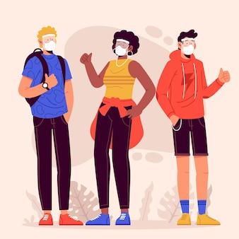 Menschen mit gesichtsschutz und maske
