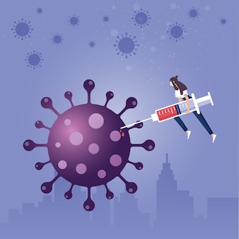 Menschen mit impfstoff gegen coronavirus