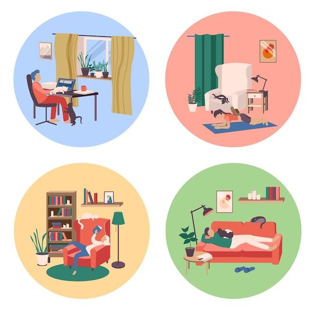 Menschen mit katzen stellen flache isolierte illustrationen ein
