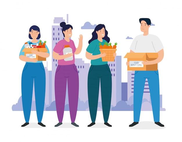 Menschen mit kisten der wohltätigkeitsspendenillustration