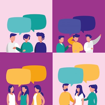Menschen mit kommunikationsblase