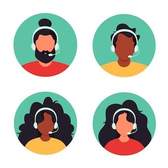 Menschen mit kopfhörern, kundendienst, assistent, support, callcenter