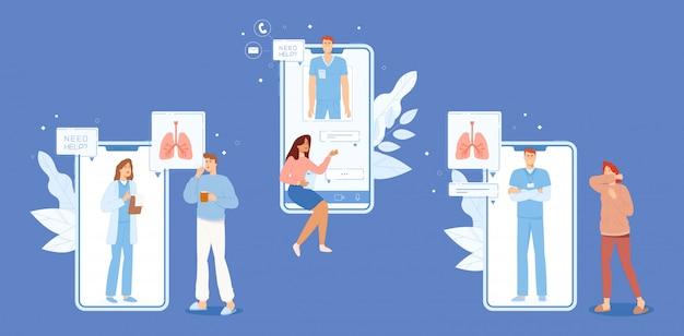 Menschen mit krankheitssymptomen interagieren mit ärzten online eingestellt.