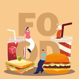 Menschen mit lebensmittelwort, burger-sandwich-soda und saftvektorillustration