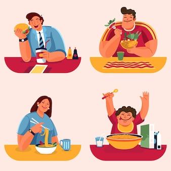Menschen mit leckerem essen