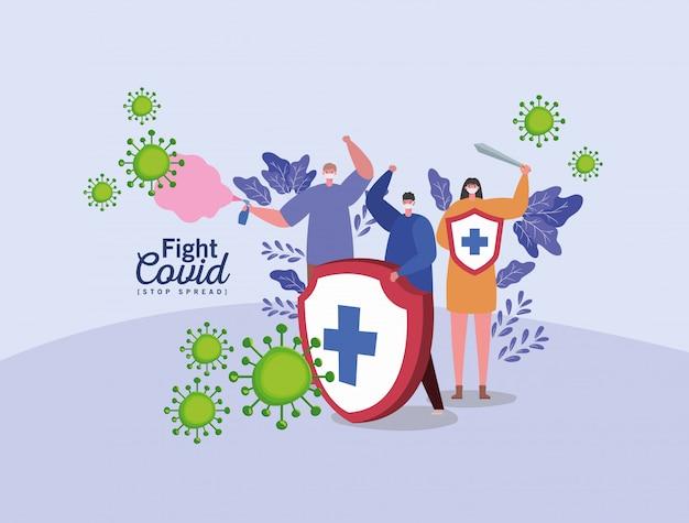 Menschen mit masken schützen schwert und spray bekämpfen viren
