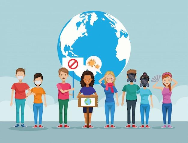 Menschen mit maskenschutzverschmutzung und weltplanet
