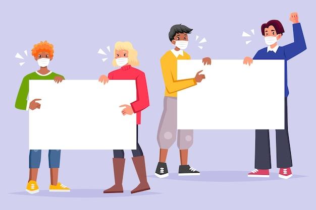 Menschen mit medizinischen masken, die leere plakate halten