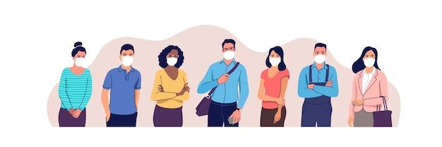 Menschen mit medizinischen masken